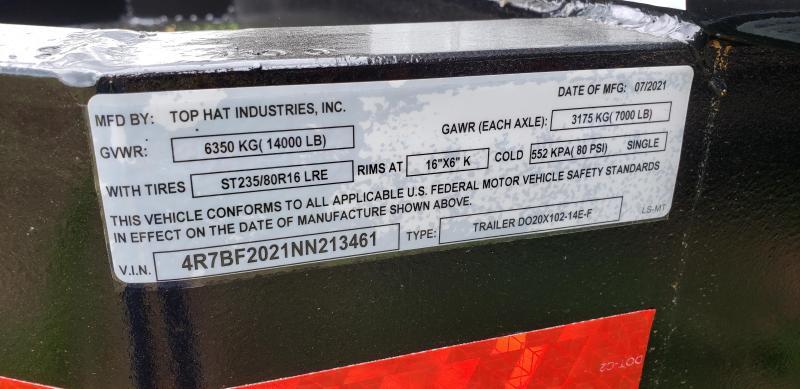 2022 Top Hat Trailers 20x96 14K Equipment Trailer