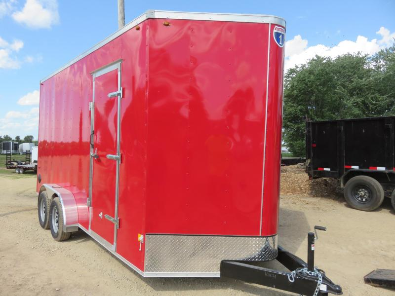 2021 Interstate 7x16 Enclosed Cargo Trailer-Red with Ramp and Extra Height