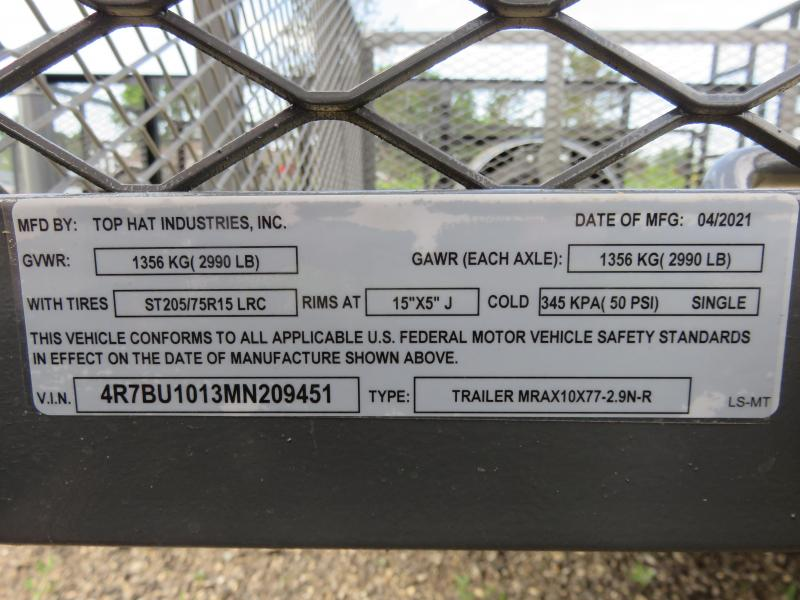 """2021 Top Hat Trailers 10x77 Utility Trailer with 24"""" Expanded Metal Sides"""