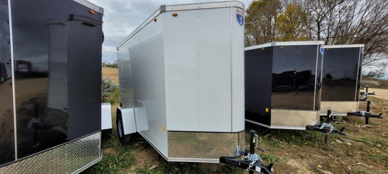 2021 Interstate 5x10 Enclosed Cargo Trailer-white with ramp and Extra Height