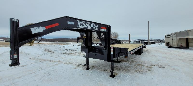 2021 CornPro 25+5 10K Gooseneck Flatbed Trailer with Torque Tube and Pro Ramps