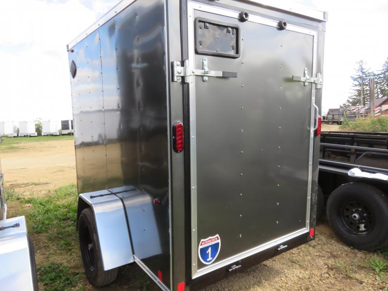 2021 Interstate 5x8 Enclosed Cargo Trailer-Charcoal with Ramp & Extra Height