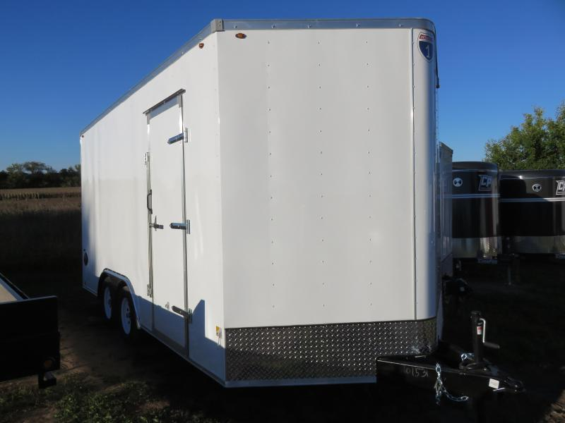 2021 Interstate 8.5x16 Enclosed Cargo Trailer White with Ramp and Extra Height
