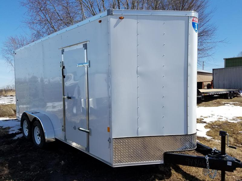 2019 Interstate 7x16 Enclosed Cargo Trailer-White with Ramp
