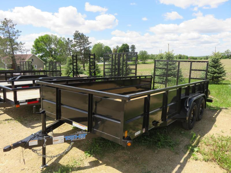 "2020 Top Hat Trailers 16x83 Tandem Utility Trailer with 24"" metal sides"