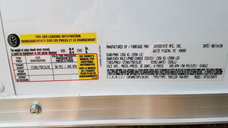 2021 Interstate 6x12 Enclosed Cargo Trailer-White with Ramp and Extra Height