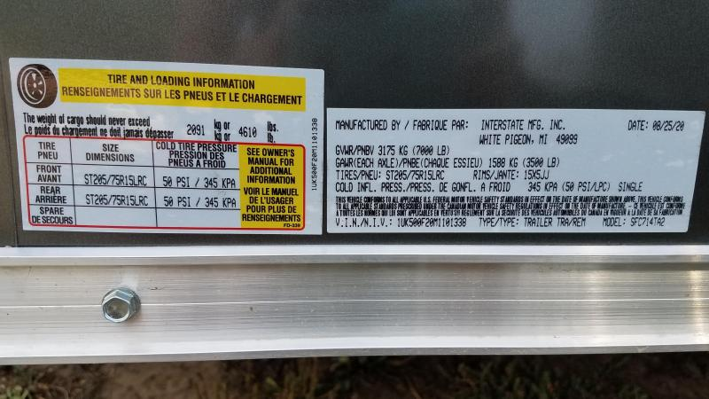 2021 Interstate 7x14 Enclosed Cargo Trailer with Ramp and Extra Height