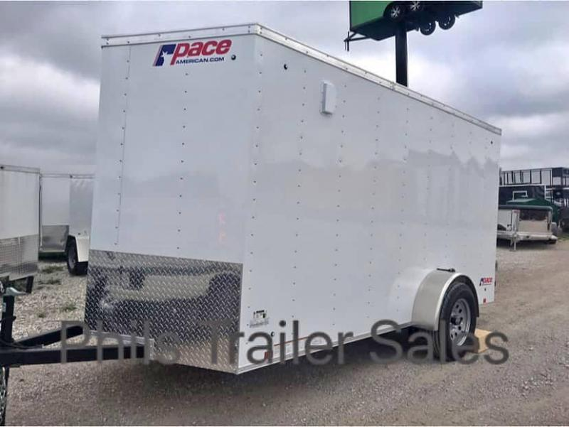 """6x10 + 24"""" v nose  Pace American ramp Enclosed Cargo Trailer"""