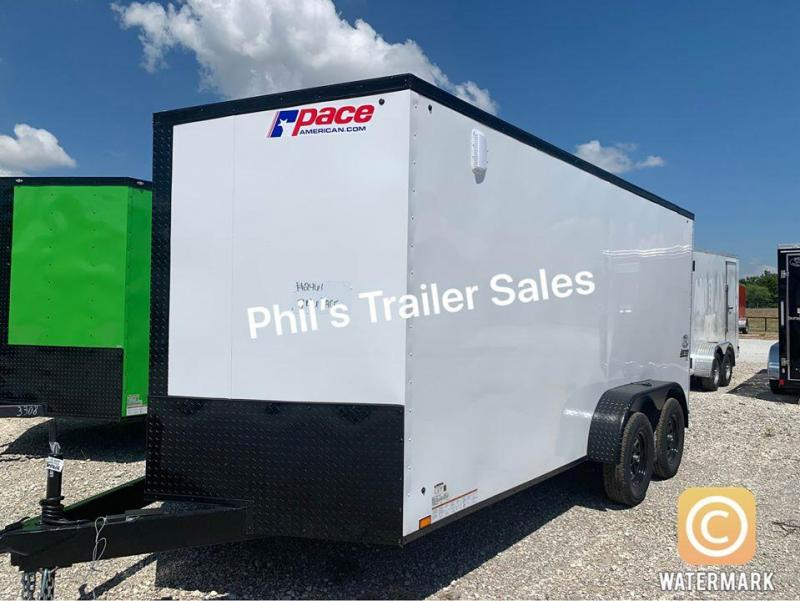7x16 + 2 v nose 7ft interior  Pace Blackout Cargo / Enclosed Trailer