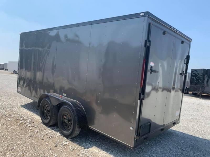 ENCLOSED TRAILER 7x16 2 v nose 7' interior WHITE   BLACKOUT Enclosed Cargo Trailer