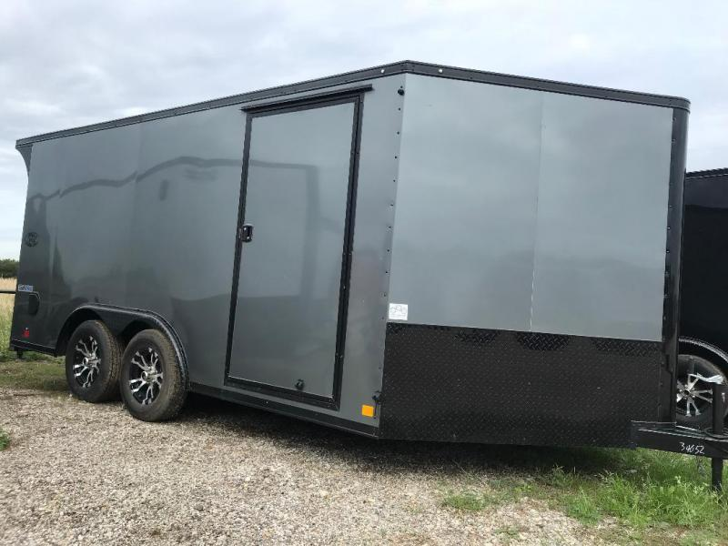 MOTORCYCLE TRAILER 8.5x16+ 3 v  7 ft  interior   BLACKED OUT trim ENCLOSED  Motorcycle Trailer
