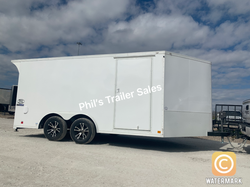 MOTORCYCLE TRAILER 8.5x14+ 3 v  7ft interior  WHITE OUT trim ENCLOSED  Motorcycle Trailer