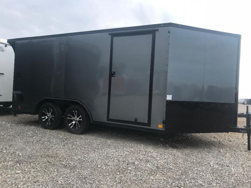 MOTORCYCLE TRAILER 8.5x14+ 3 v  7 ft  interior   BLACKED OUT trim ENCLOSED  Motorcycle Trailer