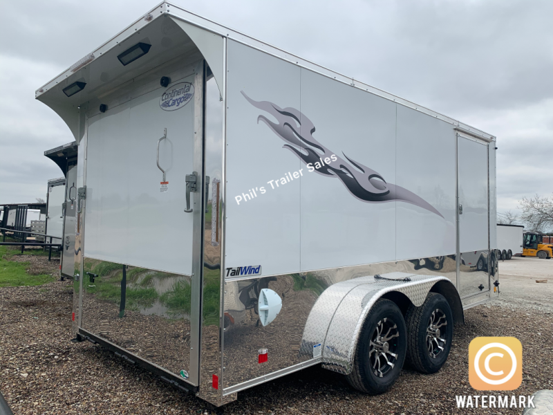 Continental Cargo 7x14+ 3   WHITE CHROME  motorcycle trailer Enclosed  Motorcycle Trailer