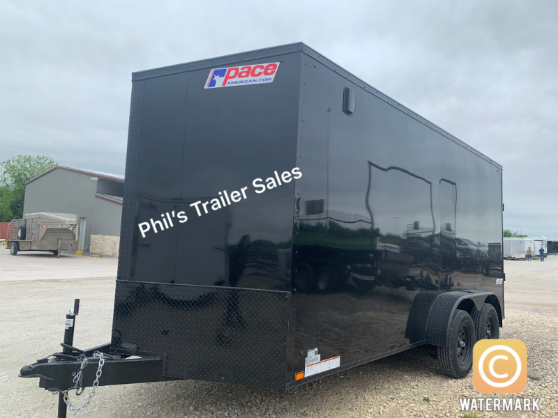 7x16 + 2 v nose 7 ft interior   Pace Blackout Cargo / Enclosed Trailer