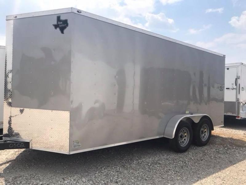 """SILVER  Texas Select 7x16 2 v nose 6'6"""" interior Enclosed Cargo Trailer"""