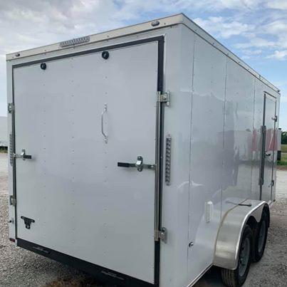 "UPGRADED 7x16 + 2 v 6'6"" Enclosed trailer Cargo / Enclosed Trailer"