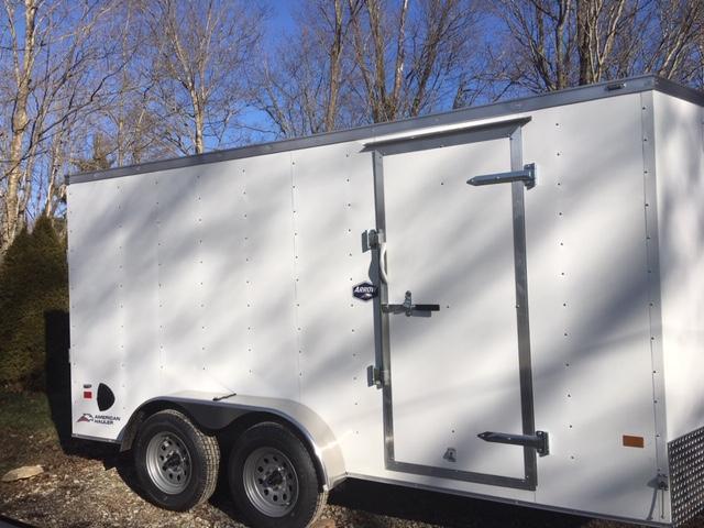 """ENCLOSED CARGO TRAILER 7'X 14' + 6"""" WHITE- RAMP DOOR"""