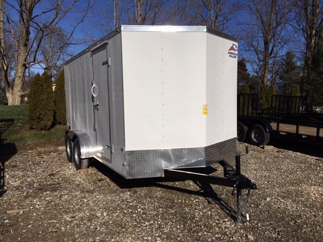 "ENCLOSED CARGO TRAILER 7'X 14' + 6"" WHITE- RAMP DOOR"
