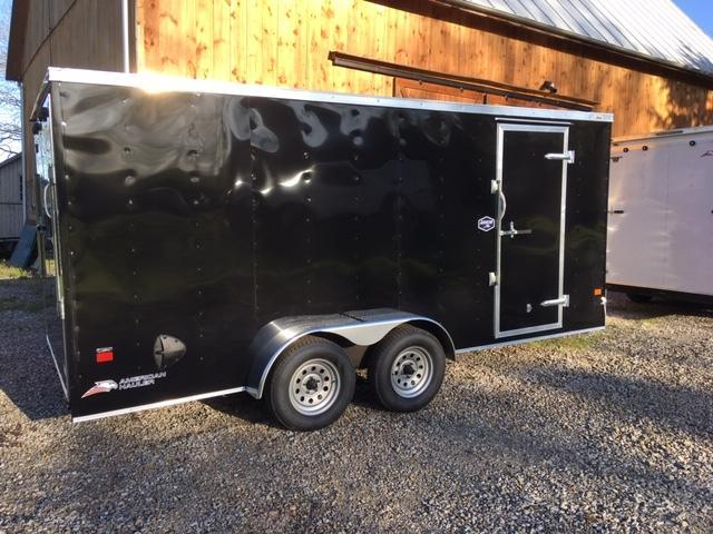 "ENCLOSED CARGO TRAILER 7'X 16' + 6"" BLACK - RAMP DOOR"
