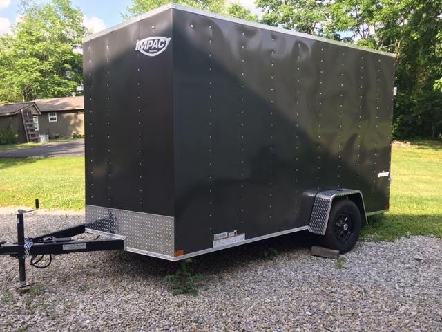 "2021 QUAKE 7' X 12' +12 CHARCOAL ""ENCLOSED CARGO TRAILER"