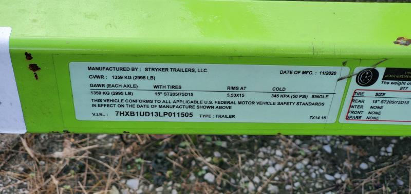 REPO: 2021 Stryker Trailers 7'x14' USED Single Axle Utility Trailer