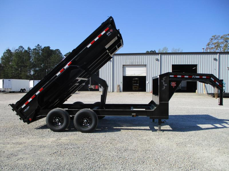 2021 PJ Trailers DL 14 x 83 Low Pro Gooseneck Dump Trailer with Tarp