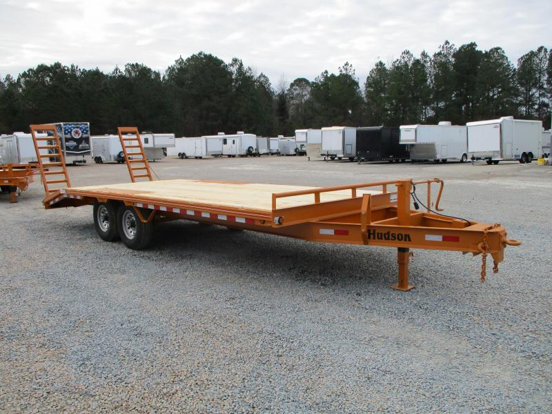 2021 Hudson Brothers HTMBH 6 Ton 21' Deckover Equipment Trailer  with Flip Up Ramps