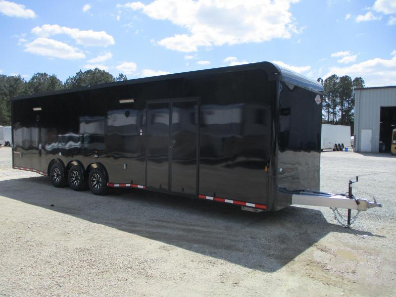 BLACK 2022 Aluminum Cargomate 34' Eliminator SS Race Trailer with Full Bath Package