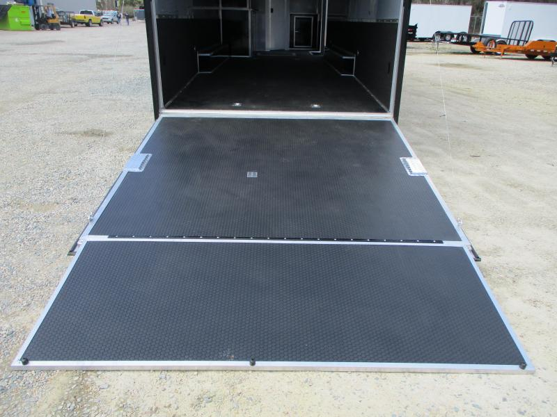 BLACK 2022 Aluminum Cargomate 34' Eliminator SS Race Trailer with Full Bath Package
