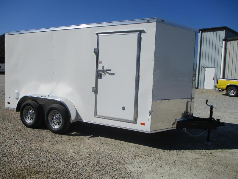 (5) Add Folder 2021 Covered Wagon Gold Series 7x14 Vnose Cargo Trailer with Ramp Door