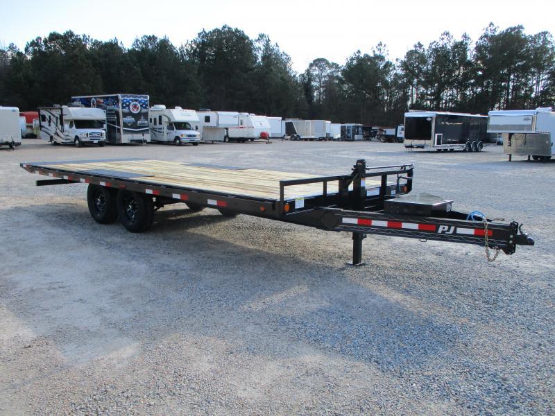 2021 PJ Trailers T8 22' Power Tilt Deckover Equipment Trailer with 7k Dexters