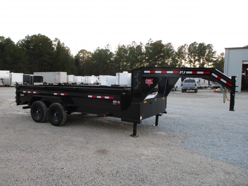 2021 PJ Trailers 83 x 16 Low Pro Gooseneck Dump Trailer with Tarp
