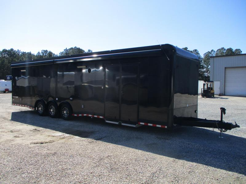 DEMO SALE Aluminum2019 Cargo Mate Eliminator SS 34' Car / Racing Trailer Loaded with Girard Awnings