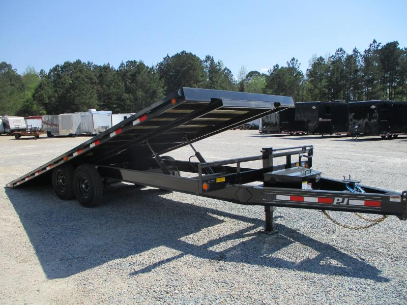 2021 PJ Trailers T8 22' Deckover Power Tilt Equipment Trailer with 7k Dexters