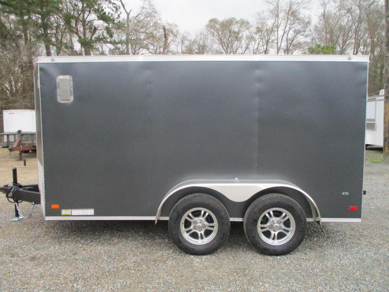 2021 Covered Wagon Trailers Gold Series 7x12 Vnose Motorcycle Trailer with Finished Interior