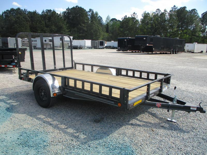 2021 PJ Trailers U8 12x83 Utility Trailer with Rear Gate and Side ATV Ramps
