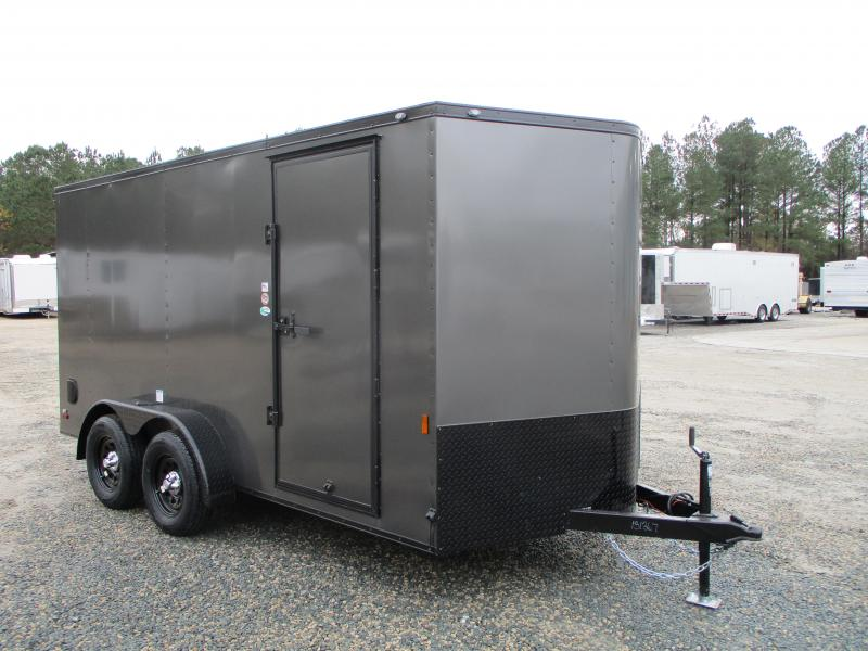 2021 Continental Cargo Sunshine 7 x 14 Vnose Charcoal Enclosed Cargo Trailer with Blackout Trim