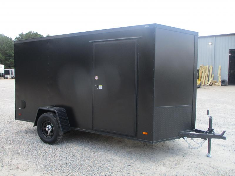 2022 Covered Wagon Gold Series 6x12 Vnose Cargo Trailer Black with Blackout
