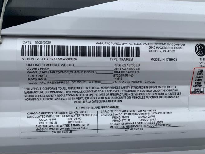 New 2021 Keystone RV Hideout Single Axle 176BH