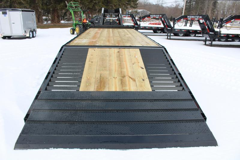 """2021 Moritz FGSH 8' 6"""" x 24'+10' Flatbed Trailer - 20000# GVW-Hyd jack -Traction"""