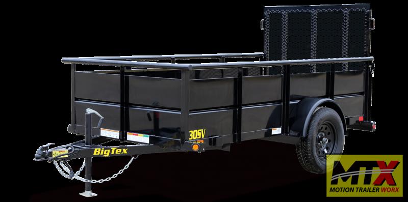 "2020 Big Tex 5x10 30SV w/ 24"" Solid Sides & 4' Spring Assist Gate"