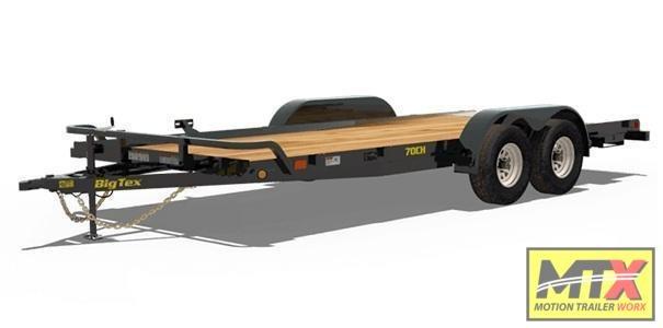 2022 Big Tex 18' 70CH 7K Car Trailer w/ Dovetail & Slide in Ramps