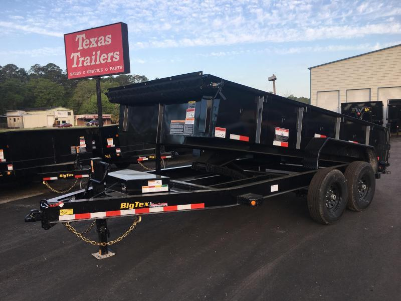 14LP-12 BIG TEX 7' X 12' DUMP TRAILER W/ TARP & COMBO REAR GATE W/ 6' SLIDE IN RAMPS