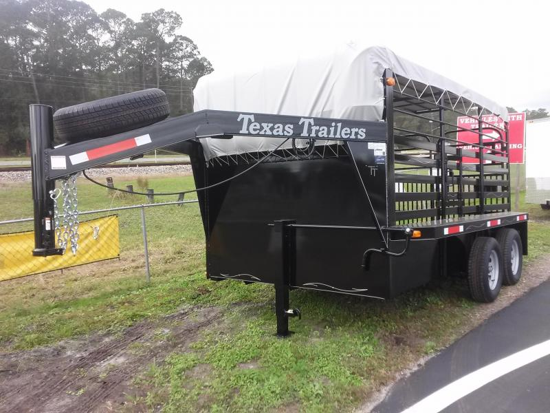 ST1270G TEXAS TRAILERS 12' GOOSENECK STOCK TRAILER