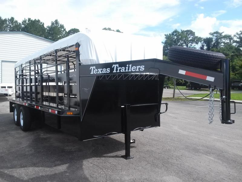 ST2012G TEXAS TRAILERS 20' GOOSENECK STOCK TRAILER W/ FLAT BAR SIDES