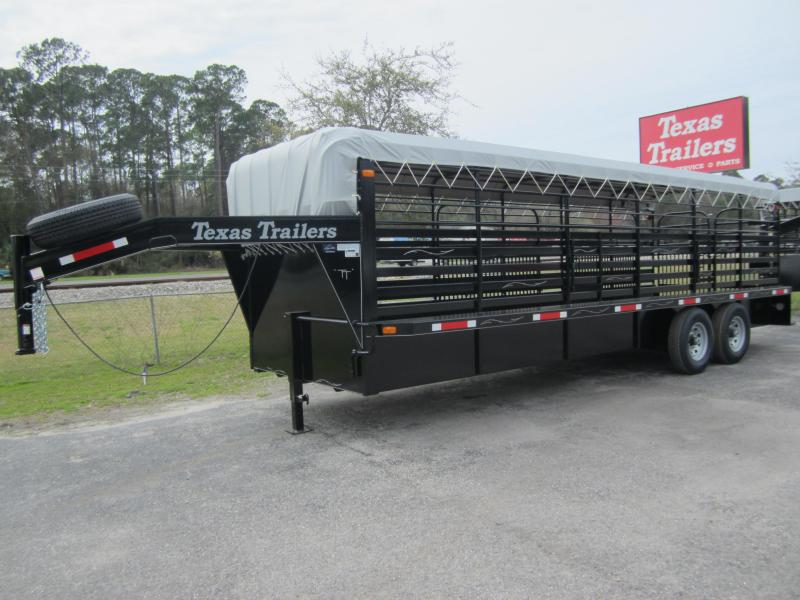 ST2414G TEXAS TRAILERS 24' GOOSENECK STOCK TRAILER