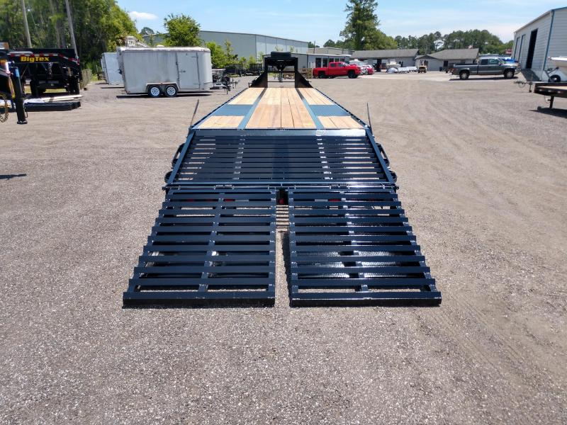 FB4024G TEXAS TRAILERS 40' GOOSENECK DECK OVER FLATBED SHOWN W/ MEGA RAMPS