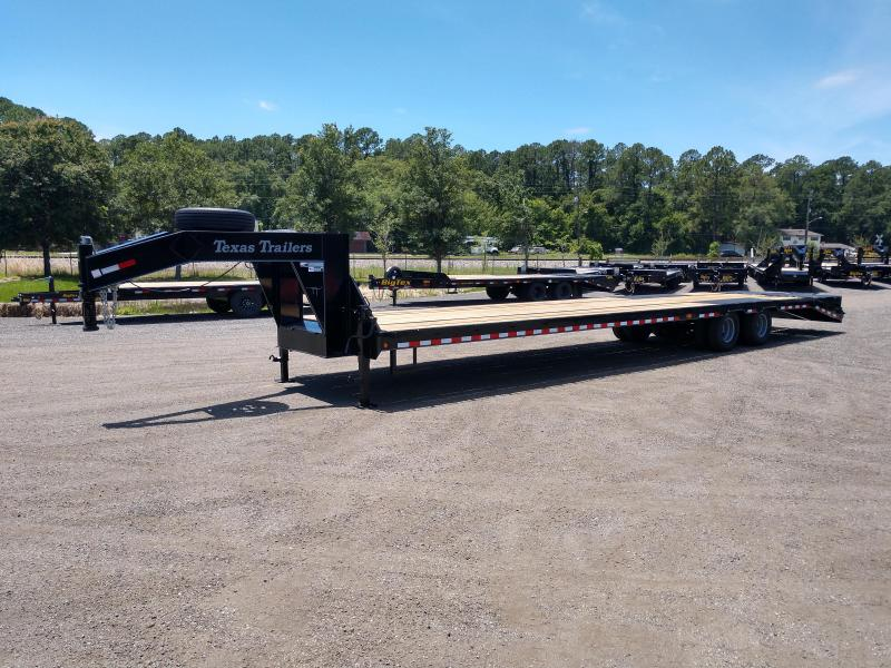 FB4024G TEXAS TRAILERS 40' GOOSENECK DECK OVER FLATBED SHOWN W/ CUSTOM OPTIONS ELECTRIC-OVER-HYDRAULIC DISC BRAKES