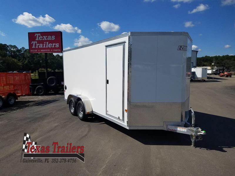 2022 All Aluminum Frame Mission EZEC 7 X 16 White Enclosed Cargo Trailer V-Nose / Side Door / Ramp Door